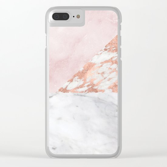 Mixed pinks rose gold marble Clear iPhone Case