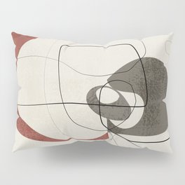 Minimalist Abstract Art Shapes - Scribbles Earth Red 2 Pillow Sham