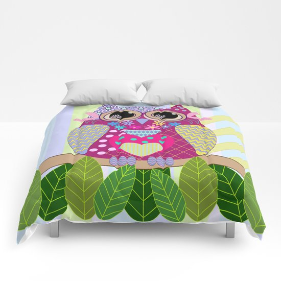 Cute Patterns Flower Power Owl Comforters