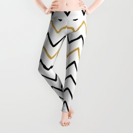 Writing Exercise-Simple Zig Zag Pattern- Black on White Gold - Mix & Match with Simplicity of life Leggings