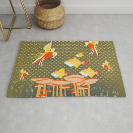 Birds over fishes over mushrooms ...who will win ? Rug