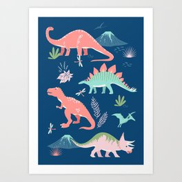 Jurassic Dinosaurs on Blue Art Print