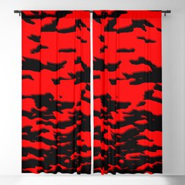 Black red abstract wave Blackout Curtain