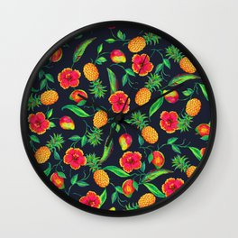 Tropical fruit and flowers Wall Clock