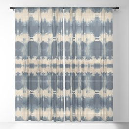 Indigo Beetle Shibori Sheer Curtain