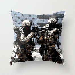 3 Soldiers & US Flag Throw Pillow