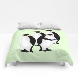 Penguin On A Mobile Device Comforters