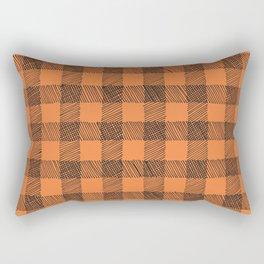 orange and black plaid Rectangular Pillow