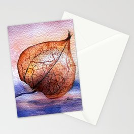 Watercolor Physalis in Light Stationery Cards