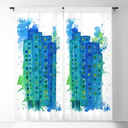 Blue Green Teal City - Cities - Watercolor Splashes and Acrylic Buildings Blackout Curtain