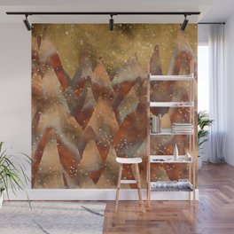 Abstract Copper  Gold Glitter Mountain Dreamscape Wall Mural
