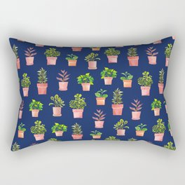 Indoor Plant Collection Blue Rectangular Pillow