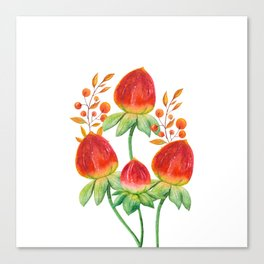 Hand painted orange red green watercolor fall floral Canvas Print