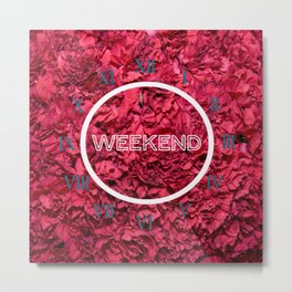 clock week end flower Metal Print