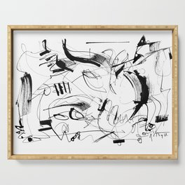 Crushed by a Bull - b&w Serving Tray