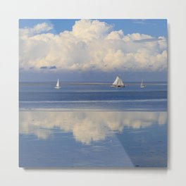 Sky And Sea With Sailboats In Holland Metal Print