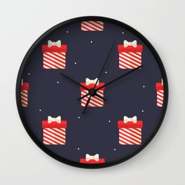 Red Christmas Gift Pattern Wall Clock
