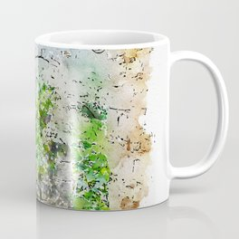 Aquarelle sketch art. Ancient stone buildings and palm tree in Istria, Croatia Coffee Mug