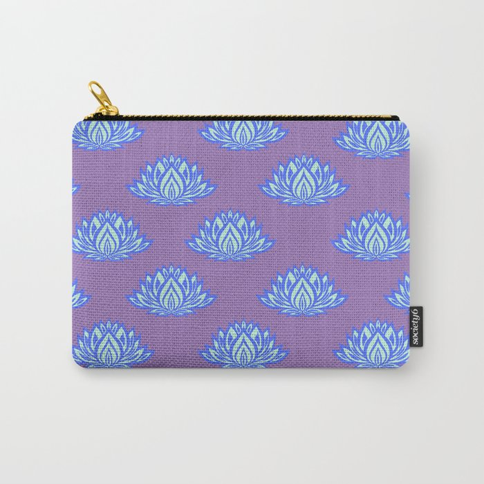 Lotus Pattern Violet/Lila Carry-All Pouch