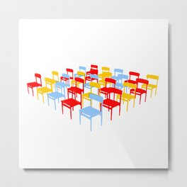 25 Chairs Metal Print