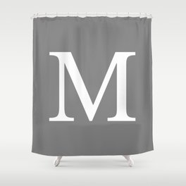 Darker Gray Basic Monogram M Shower Curtain