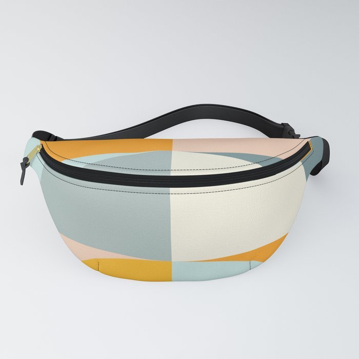 Summer Evening Geometric Shapes in Soft Blue and Orange Fanny Pack