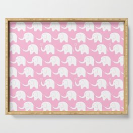 Elephant Parade on Pink Serving Tray