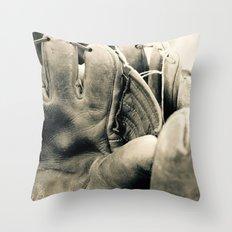 Vintage Baseball Gloves Throw Pillow