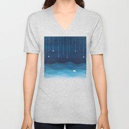 Falling stars, blue, sailboat, ocean Unisex V-Neck