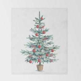 Christmas tree with red balls Throw Blanket