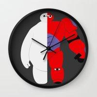 baymax Wall Clocks featuring BayMax by Brieana