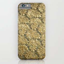 Vintage gold french grunge floral lace iPhone Case
