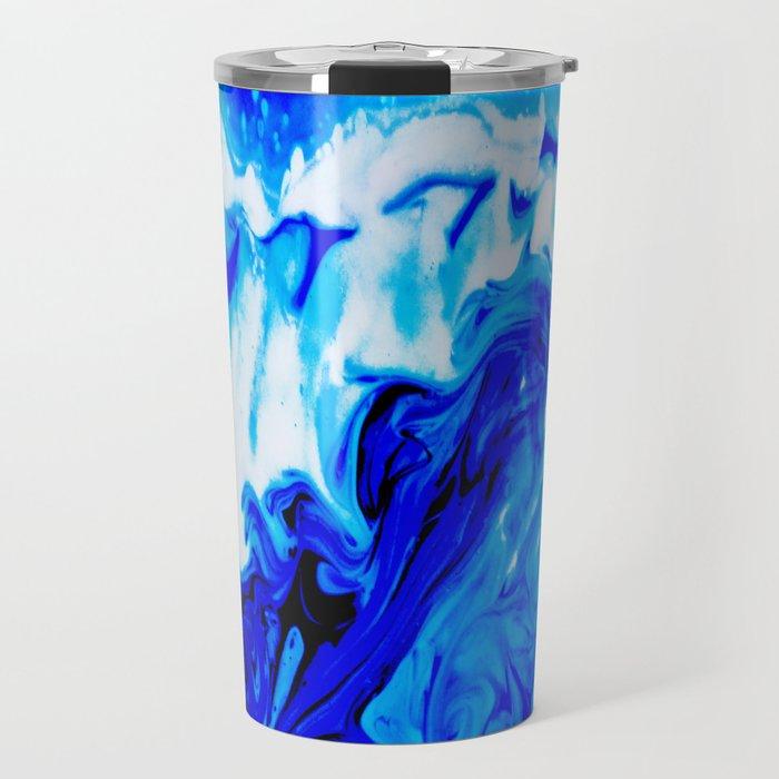 Fluid Abstract 32; Crashing Waves Travel Mug