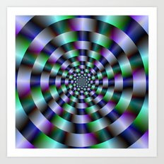 Rings of Green Blue and Violet  Art Print
