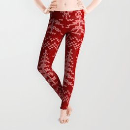 Stitched Evergreens in Red and Pink Leggings
