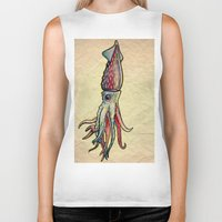 squid Biker Tanks featuring Squid by Irene Fratto Due