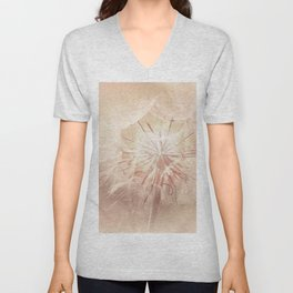 Pink Dandelion Flower - Floral Nature Photography Art and Accessories Unisex V-Neck