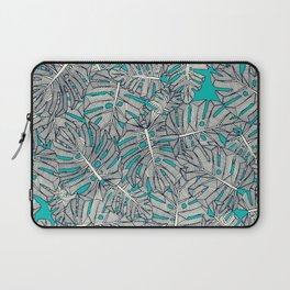 monstera leaves teal Laptop Sleeve