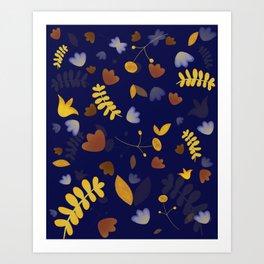 Fun blue floral digital pattern Art Print