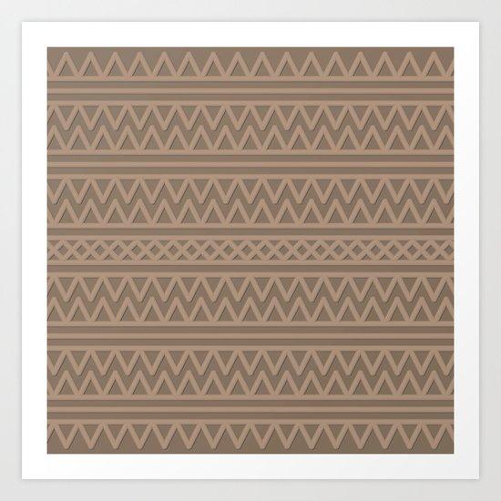 Pale Brown Aztec Style Art Print