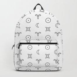Gemini/Aries + Sun/Moon Zodiac Glyphs Backpack