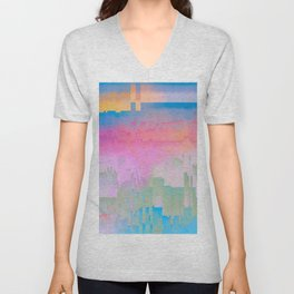 Pastel Glitch Abstract Art Unisex V-Neck