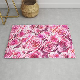 Textured Roses Pink Amanya Design Rug