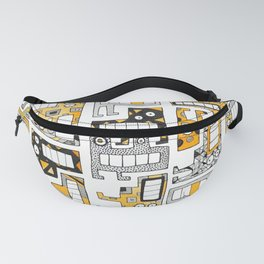 Tetris monsters yellow and grey Fanny Pack