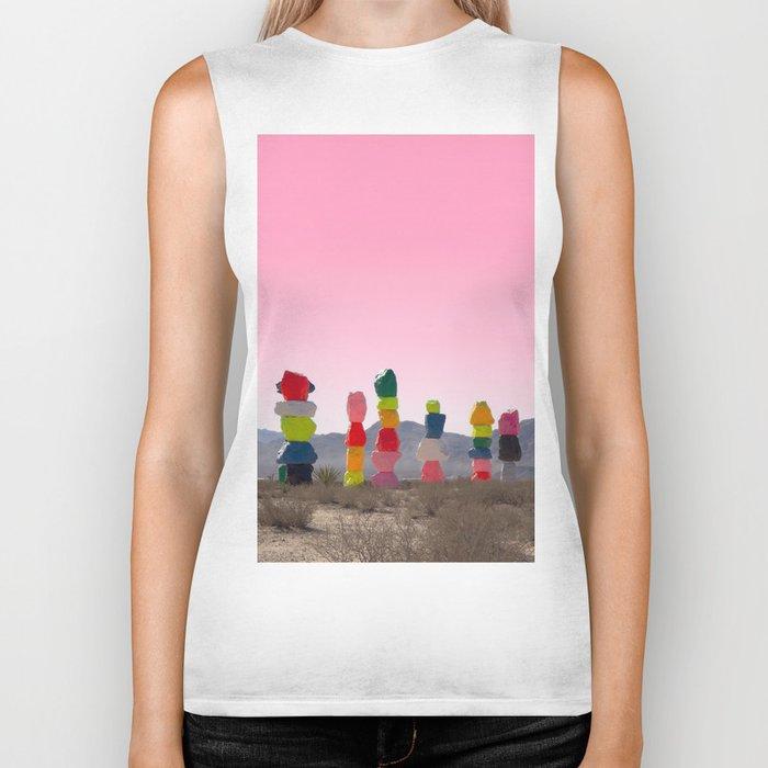 Seven Magic Mountains with Pink Sky - Las Vegas Biker Tank