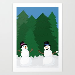 Snowball Fight Art Print
