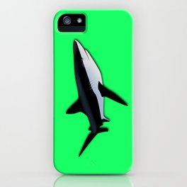 Great White Shark  on Acid Green Fluorescent Background iPhone Case