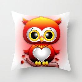Baby Owl Love Heart Cartoon  Throw Pillow