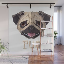 Triangular Geometric Pug Head Wall Mural