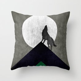 Wolf on top Throw Pillow